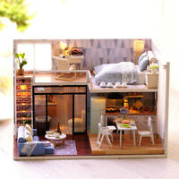 DIY Blue Time Miniature Wooden Modern Dollhouse Furniture Kit LED Christmas Gift