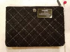 AUTHENTIC Chanel So Black Classic Quilted Clutch Purse Bag