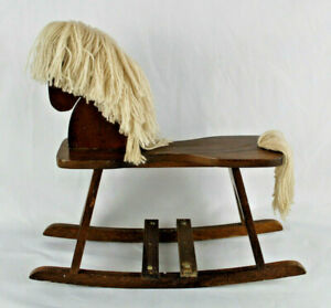 """Small Vintage Wooden Rocking Horse Toy Decoration 14""""x13"""" - Yarn Mane and Tail"""