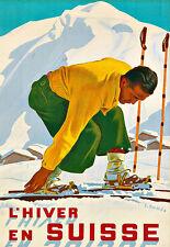 Art Travel L'HIVER EN SUISSE Ski Skiing  Poster Print