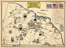 Early Mid-century Historical Map Rowan County North Carolina Wall Poster Vintage
