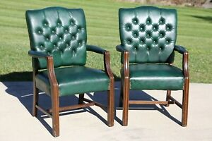 Vintage Pair Green Leather Chairs Office Loft Fireside wood tufted Chesterfield