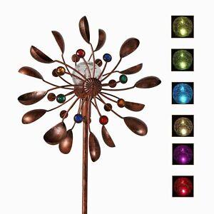 Metal Windmill Wind Spinner Solar Powered LED Colorful Light Yard Garden Decor