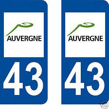 stickers autocollants plaques immatriculation auto Département Haute Loire 43
