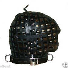 LEATHER BONDAGE CAGE HOOD Hand Constructed