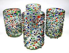 Mexican Glass, pebble confetti or bumpy confetti, hand blown, 15 oz, set of 4