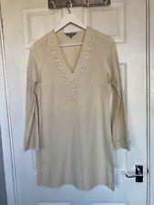 Debenhams Women's Cream Tunic Long Sleeve Top with Embroidery Size 10