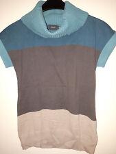 Leichter Strickpullover kurzarm,Mexx, Gr. S, grünblaugrau/natur, wenig getragen