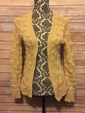 Cotton Emporium Women's Cardigan Sweater Sz XS Acrylic Metallic Blend Gold