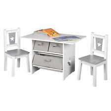 Kindersitzgruppe Kindermöbel Kindertisch+ Kinderstühle Set Grau MDF Kinderzimmer