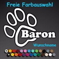 A71# Aufkleber Pfote mit Wunschname Name Sticker Hundepfote Pfoten Hund Katze