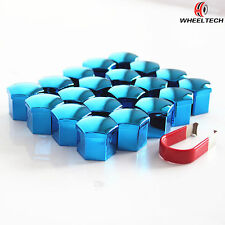 20Pcs 19mm ABS Plastic Blue with Removal Tool Wheel Lug Nut Cover Bolt Caps