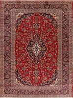VINTAGE Floral Hand-Knotted Ardakan Wool Oriental Area Rug 9'x11' RED Carpet