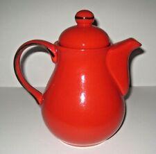 More details for vintage dark orange pottery hot water jug / coffee pot