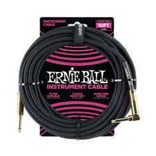 Ernie Ball 10ft Straight-Angle Braided Instrument Cable, Black/Gold P06081