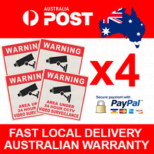 4pcs 24 Hour CCTV Video Surveillance Security Camera Warning Sticker Decal Signs