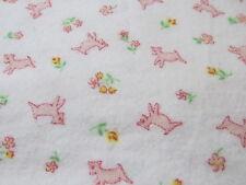 "VINTAGE flannel fabric 36"" wide baby juvenile white w/ pink lamb BTHY half yard"