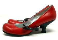 Schuh Ladies Court Shoes UK 6 Red Leather Black Spool Heels Slim Mary Jane Strap