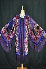 Art to Purple Color Flower Silk Burnout Velvet Fringe Kimono Opera Coat Duster
