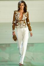 VALENTINO couture Runway Brown Leather Embellished Pearl Jacket Coat! Giselle!