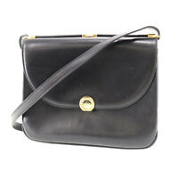 BALLY Logos Shoulder Bag Black Gold Leather Italy Vintage Auth #AC209 S