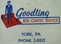 GOODLING RED CARPET SERVICE YORK Pa Old Ad Thermometer Sign Heating Oil Co