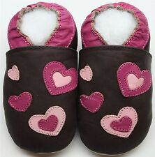 Minishoezoo soft sole toddler indoor shoes hearts brown  24-36 m non slip sole