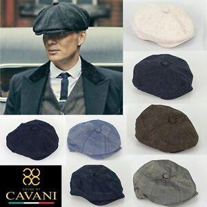 Mens Peaky Blinders Herringbone Tweed Wool Newsboy Baker Boy Flat Cap Gatsby Hat