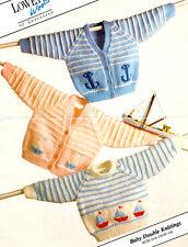 "Baby Cardigans & Sweater 16 - 20"" Nautical Boat Anchor Motif DK Knitting Pattern"