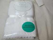 New Peacock Alley Guest Towel Set Flower Lace Border - Egyptian Cotton ~ White