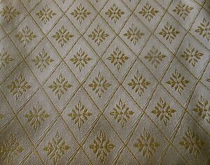 Vintage French Quatrefoil Diamond Jacquard Brocade Damask ~ Butter cream Yellow