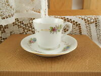 PREZIOSO RICHARD SET CAFFE' TAZZA E PIATTO CERAMICA SECONDA METÀ 800 DIPINTO