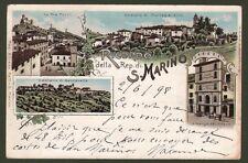 SAN MARINO. 1898. RICORDO DELLA REP. DI SAN MARINO. Cartolina viaggiata nel 1898