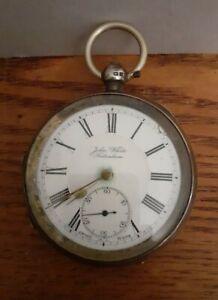 1911 Hallmarked Silver Men's Key Wind Up Pocket Watch - John White Fakenham UK