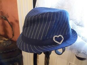 PLACE 1989 Little Girl Size 4-6 Blue/White Pinstripe Fedora Hat TAKE A LOOK!