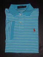 Polo Ralph Lauren Men's Liquid  Blue Striped 100% Cotton Polo/T-Shirt Size: S