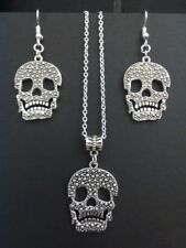 WOMENS STERLING SILVER NECKLACE & EARRINGS SET WITH SUGAR SKULL PENDANT-GIFT BOX