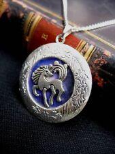 Unicorn LOCKET Necklace Pendant Gothic Silver Fantasy Pagan Purple Tattoo Wicca