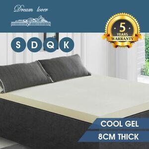 8CM Memory Foam Mattress Bamboo Cover Topper Underlay Pad Mat