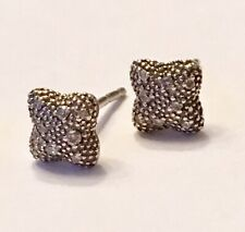 DAVID YURMAN Melange Diamond Quatrefoil Small Silver STUD Earrings, Pouch