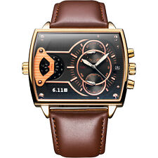 Men's Quartz Wrist Watch Square Brown Faux Leather Strap Black Dial Gold Case