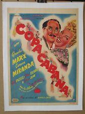 COPACABANA (1947) Original Belgian Poster On Linen, Groucho Marx, Carmen Miranda