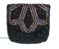 Fancy Elegant Beaded Shoulder Bag Clutch Purse, Black w/ Gold and Silver Beads