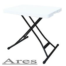 Ares 39x20-Inch Adjustable Height Folding Table, Metal Frame, White