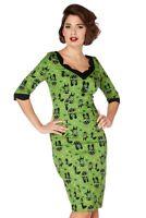 S Green Cat Dress UK 10 Tea Dress Vintage Pencil