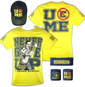 John Cena Mens Yellow Ten Years Strong Costume Hat T-shirt Wristbands