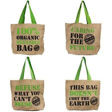 1x Organic Reusable Jute Shopping Bag Tote Lunch Recyclable Eco Friendly Slogan