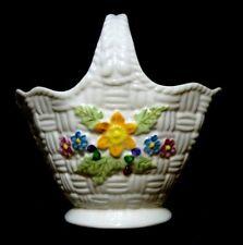 """BELLEEK Irish Porcelain Colorful Basket Weave SPRINGTIME BASKET Floral 6 1/2"""""""