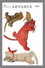 CUTE Vintage Animal Sleeping KITTEN CAT TOY Fabric Material Sewing Pattern #6931