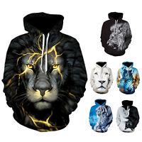 Adult 3D Print Animal Graphic Men Women Hoodies Sweatshirt Jumper Coat Warm Tops
